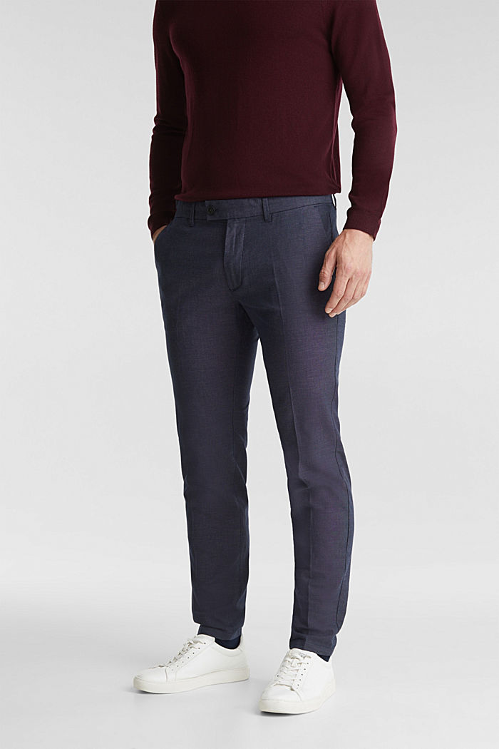 Stretch trousers in organic cotton, DARK BLUE, overview