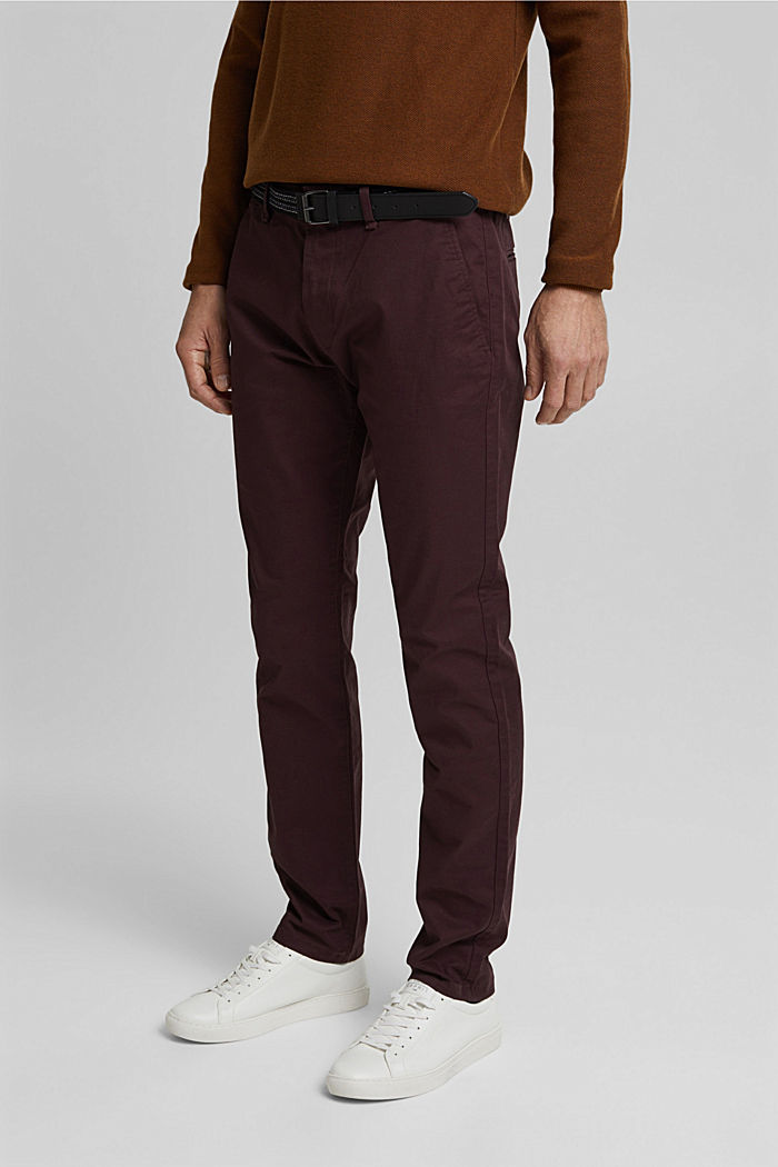 Chino aus Organic Cotton, BORDEAUX RED, detail image number 0