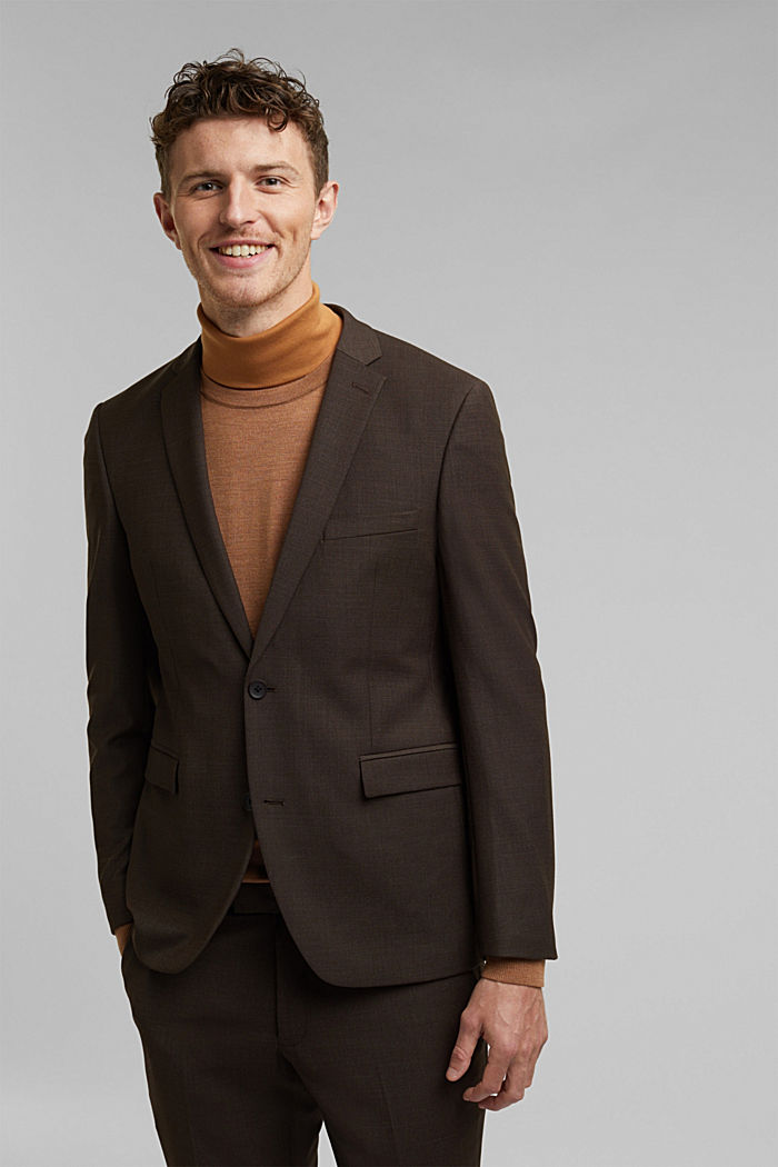 ACTIVE SUIT mix + match tailored jacket in a two-tone look, DARK BROWN, overview