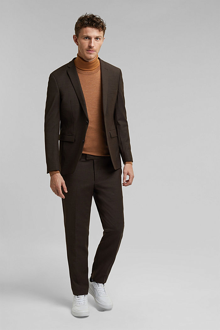 ACTIVE SUIT mix + match tailored jacket in a two-tone look, DARK BROWN, detail image number 1