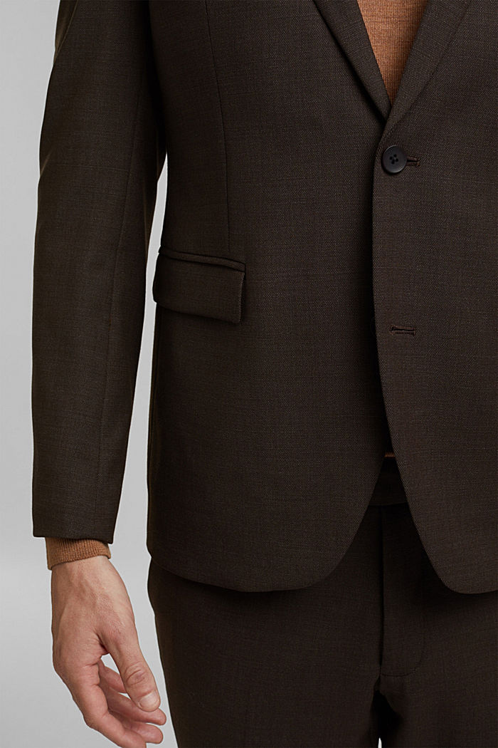 ACTIVE SUIT mix + match tailored jacket in a two-tone look, DARK BROWN, detail image number 2