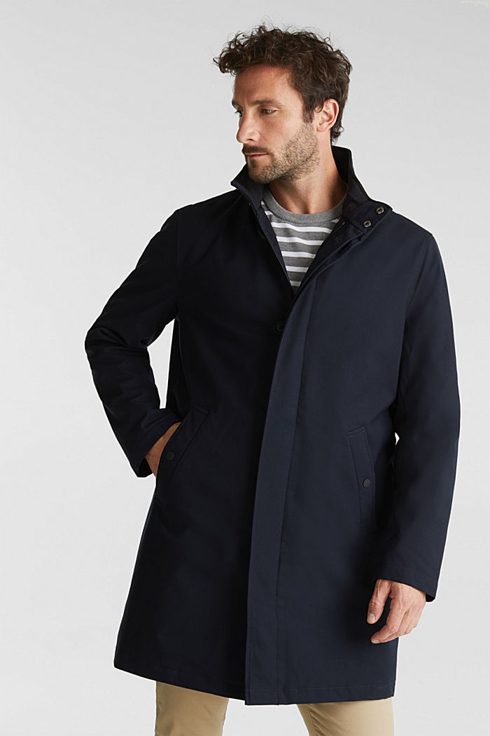 Recycled: coat with wool padding, DARK BLUE, detail image number 0