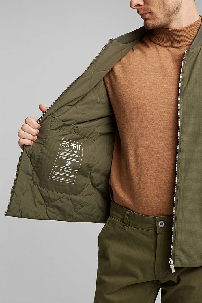 2-in-1 edition: padded nylon bomber jacket, DARK KHAKI, detail image number 2
