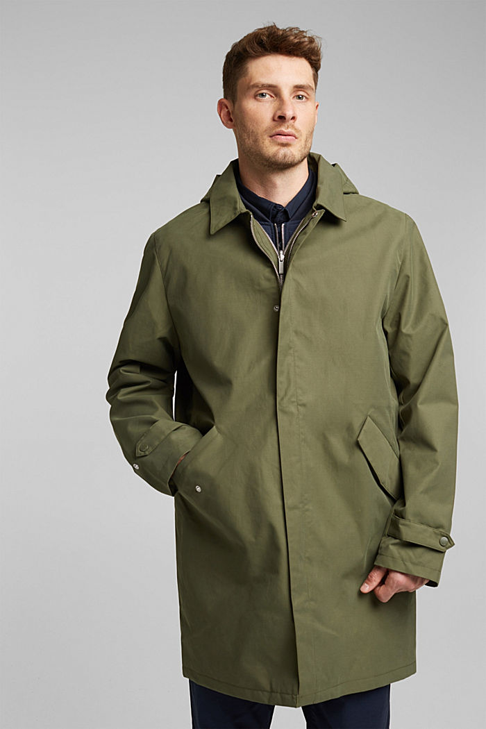 2-in-1 edition: coat with organic cotton, DARK KHAKI, detail image number 0