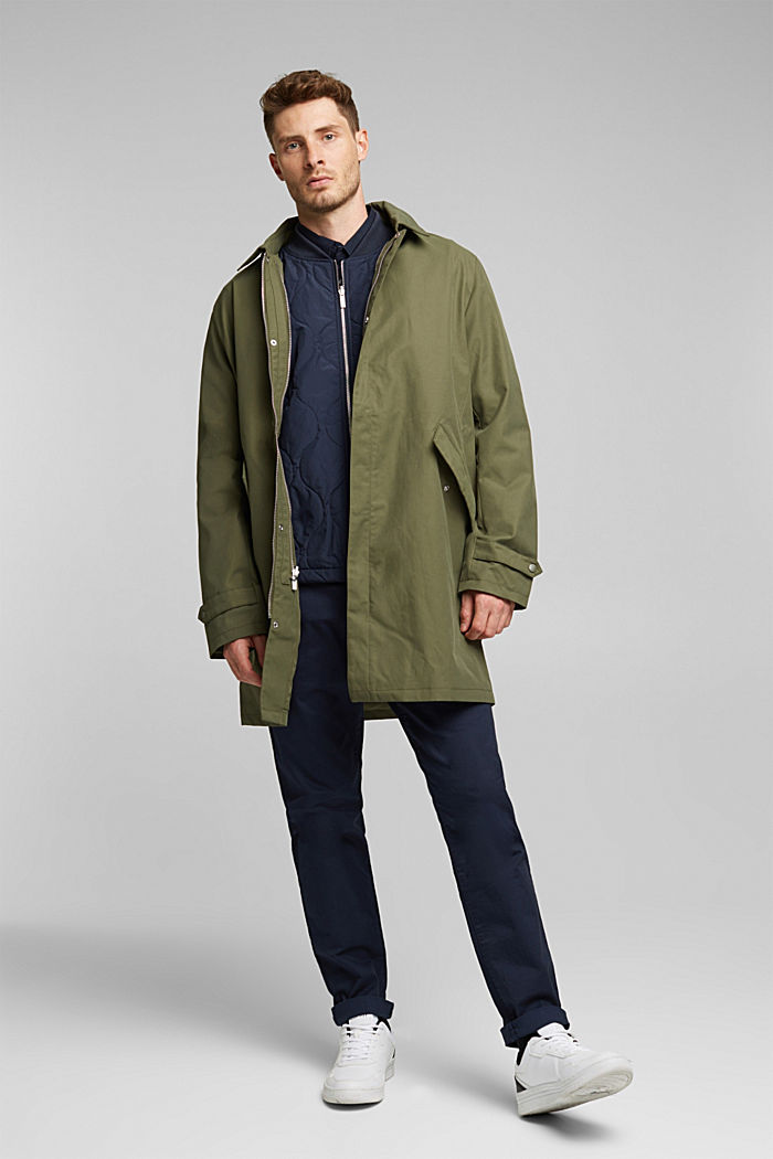 2-in-1 edition: coat with organic cotton, DARK KHAKI, detail image number 1