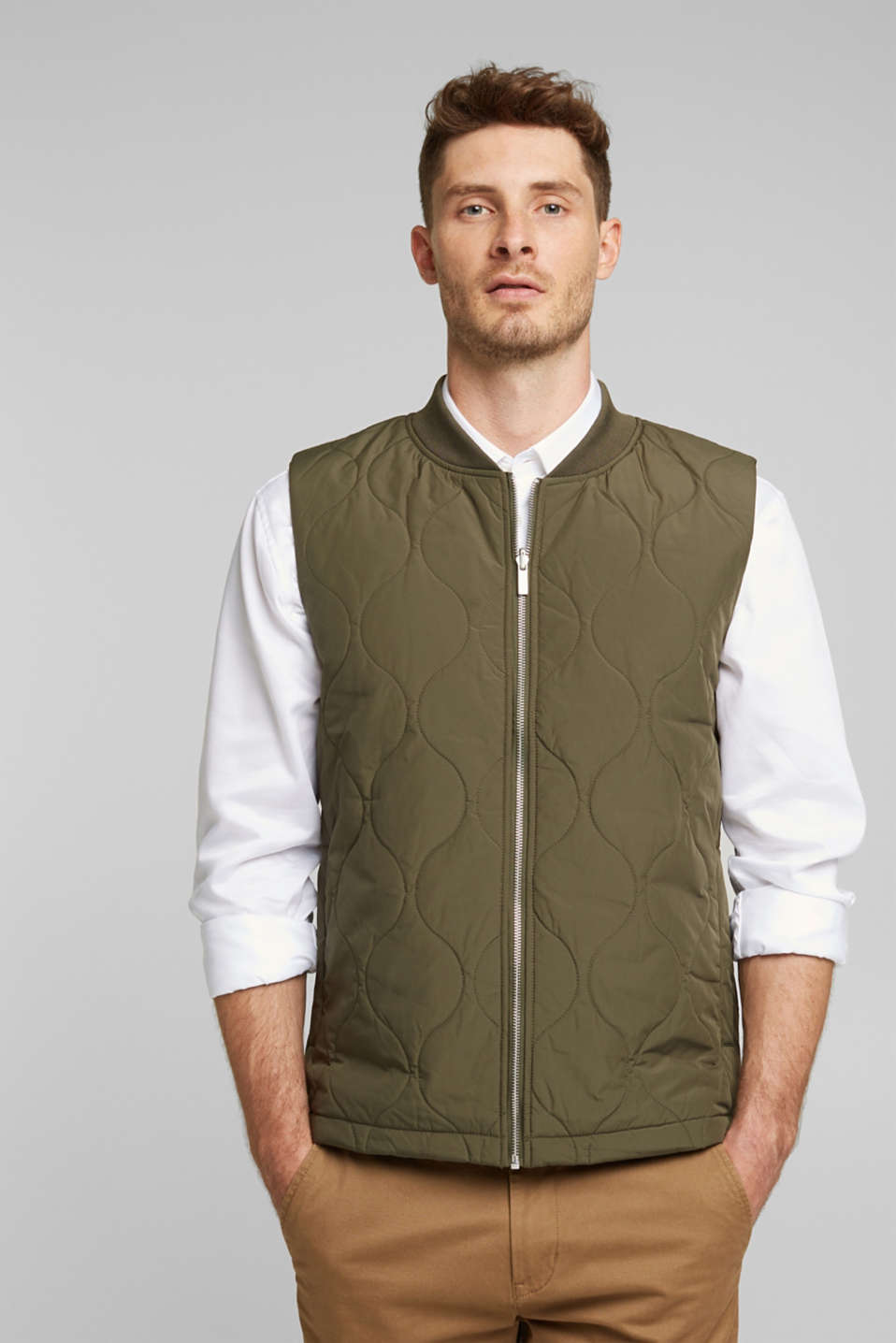 Esprit - 2-in-1 edition: gewatteerde bodywarmer, gerecycled