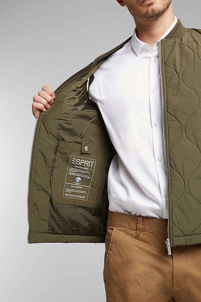 2-in-1 edition: body warmer, recycled, DARK KHAKI, detail image number 2