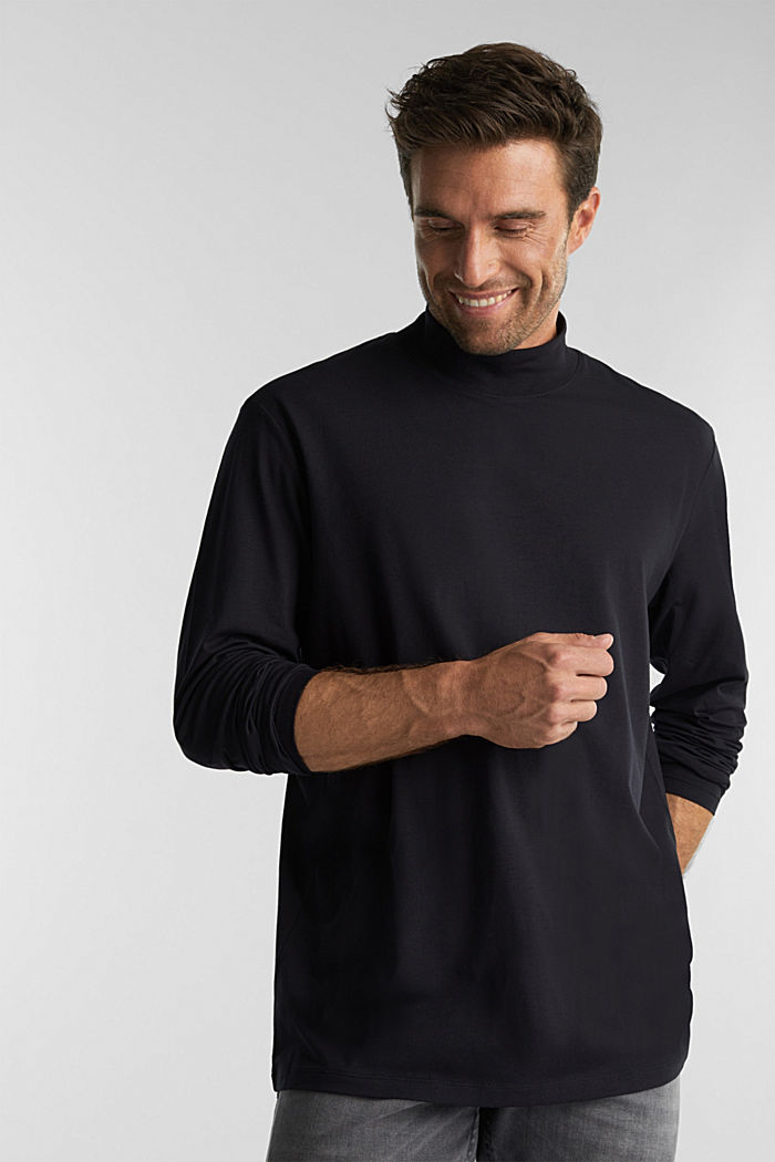 Jersey top with a polo neck and COOLMAX®, BLACK, detail image number 0