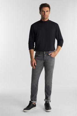 Jersey top with a polo neck and COOLMAX®, BLACK, detail