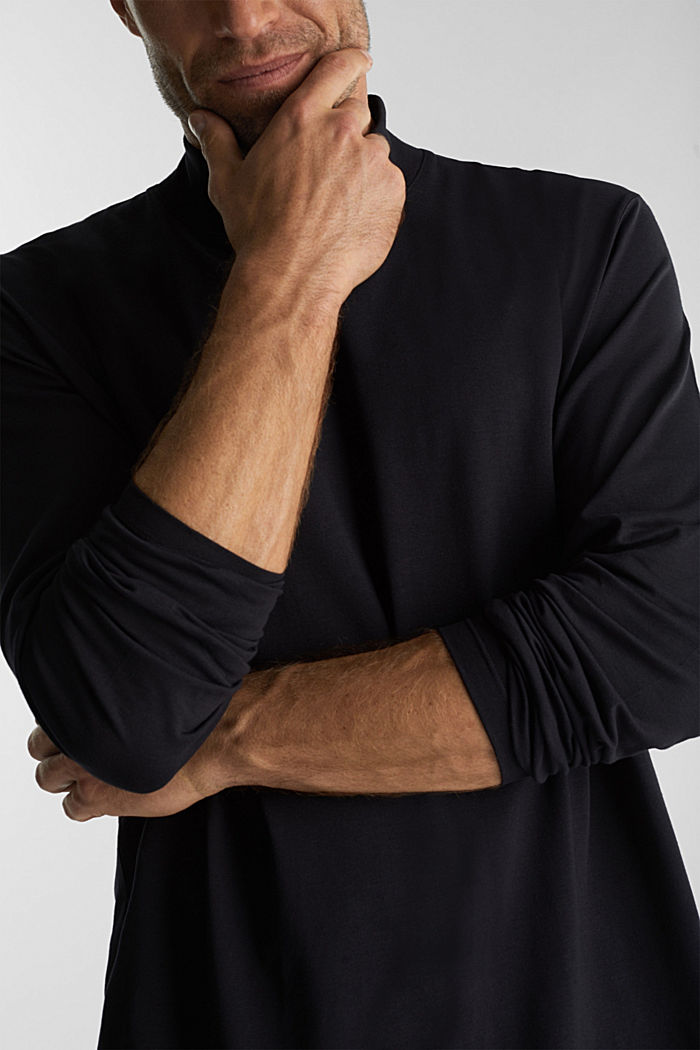 Jersey top with a polo neck and COOLMAX®, BLACK, detail image number 1