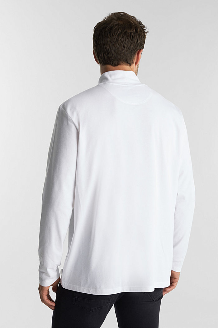 Jersey top with a polo neck and COOLMAX®, WHITE, detail image number 3