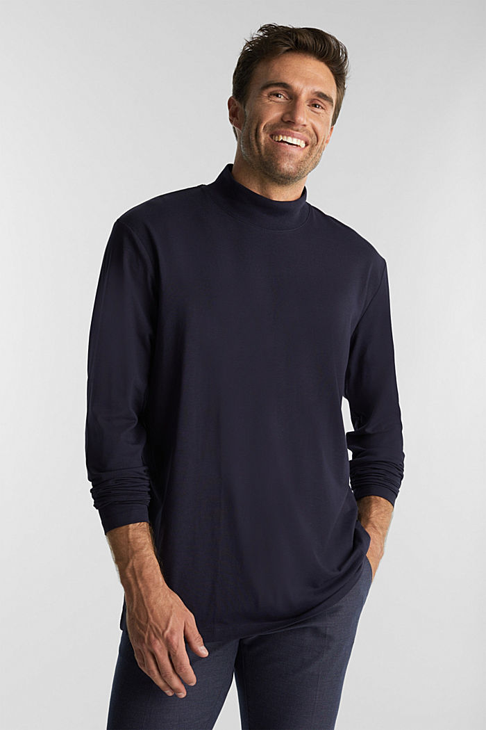 Jersey top with a polo neck and COOLMAX®, NAVY, detail image number 0