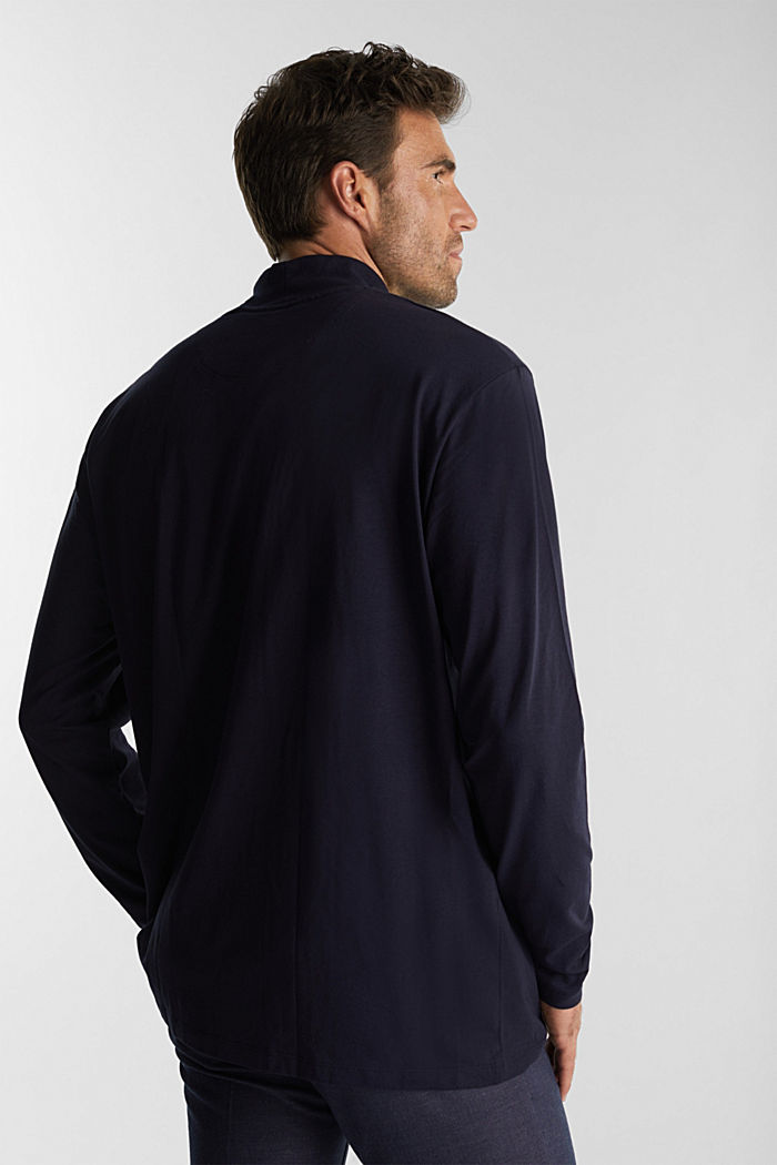 Jersey top with a polo neck and COOLMAX®, NAVY, detail image number 3