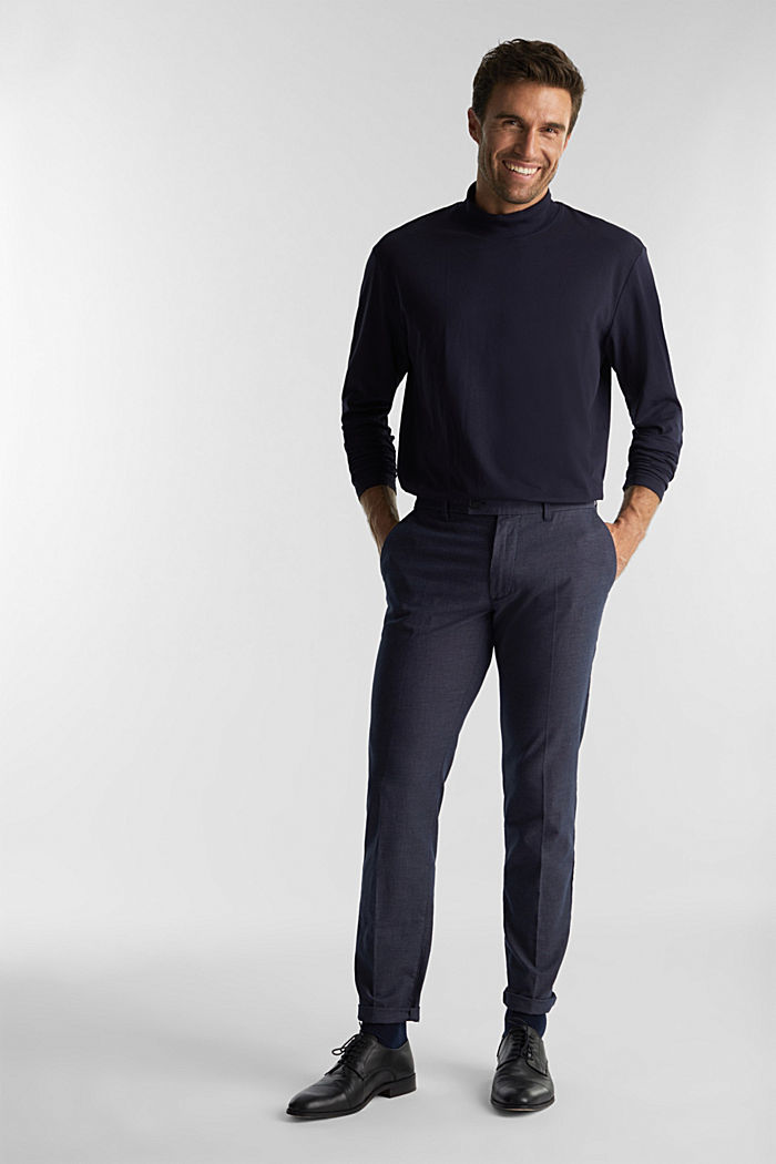 Jersey top with a polo neck and COOLMAX®, NAVY, detail image number 2