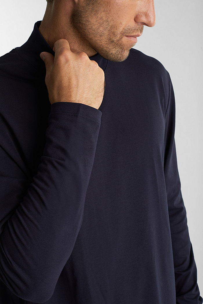 Jersey top with a polo neck and COOLMAX®, NAVY, detail image number 1