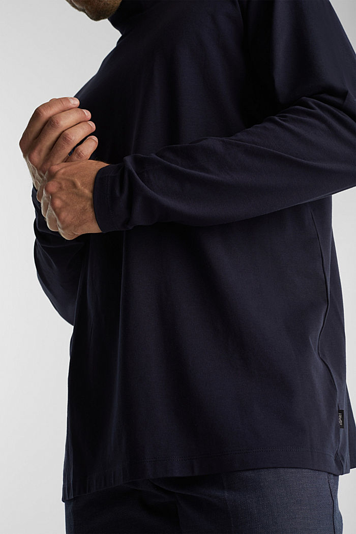 Jersey top with a polo neck and COOLMAX®, NAVY, detail image number 5