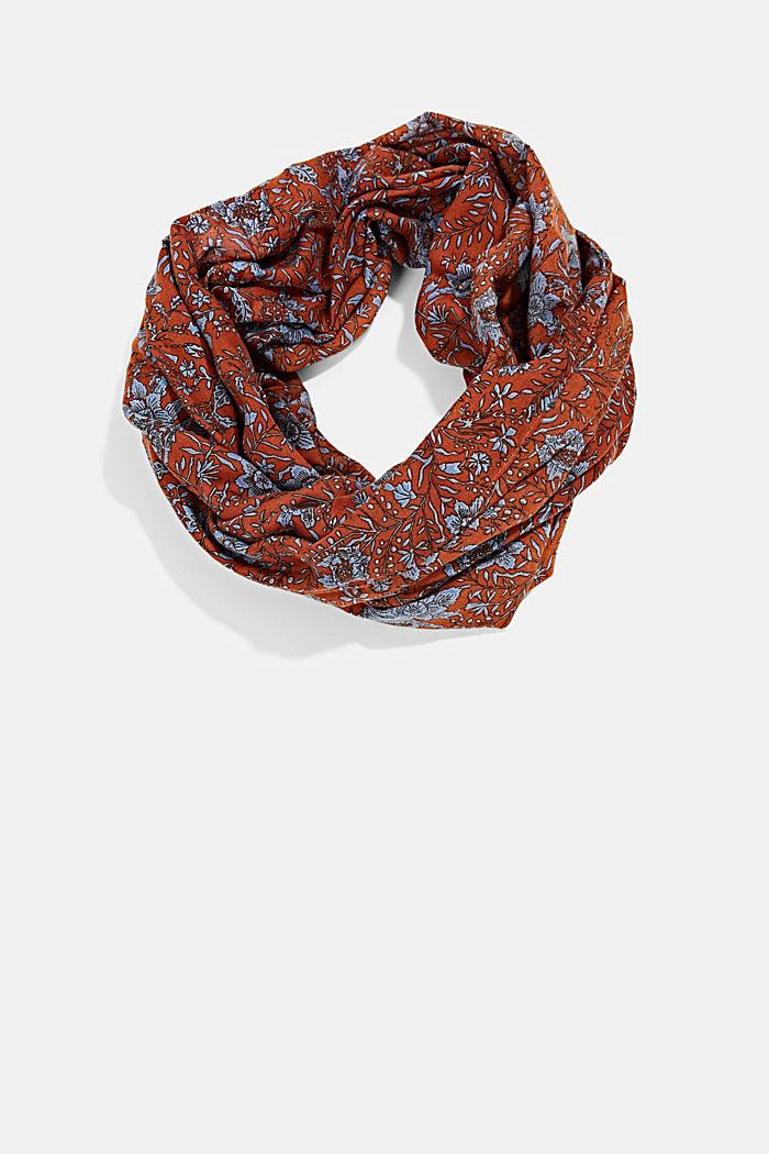 En matière recyclée: foulard tube à motif, RUST ORANGE, detail image number 0