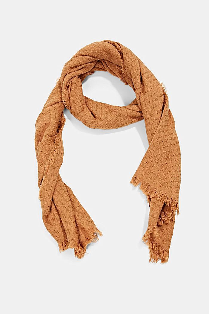 Struktur-Schal aus 100% Organic Cotton, BARK, detail image number 0