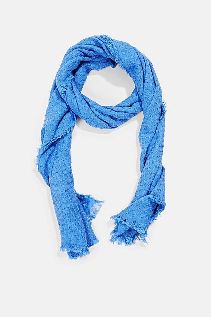Struktur-Schal aus 100% Organic Cotton, BRIGHT BLUE, detail image number 0