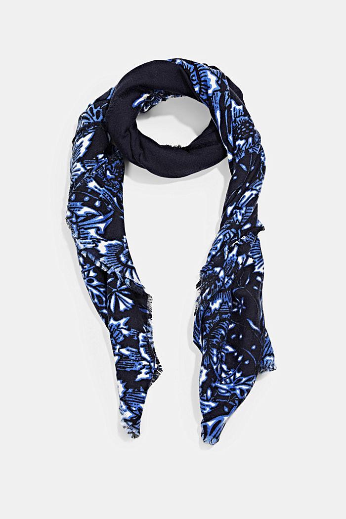 Gerecycled: geweven sjaal met bloemenmotief, NAVY, detail image number 0