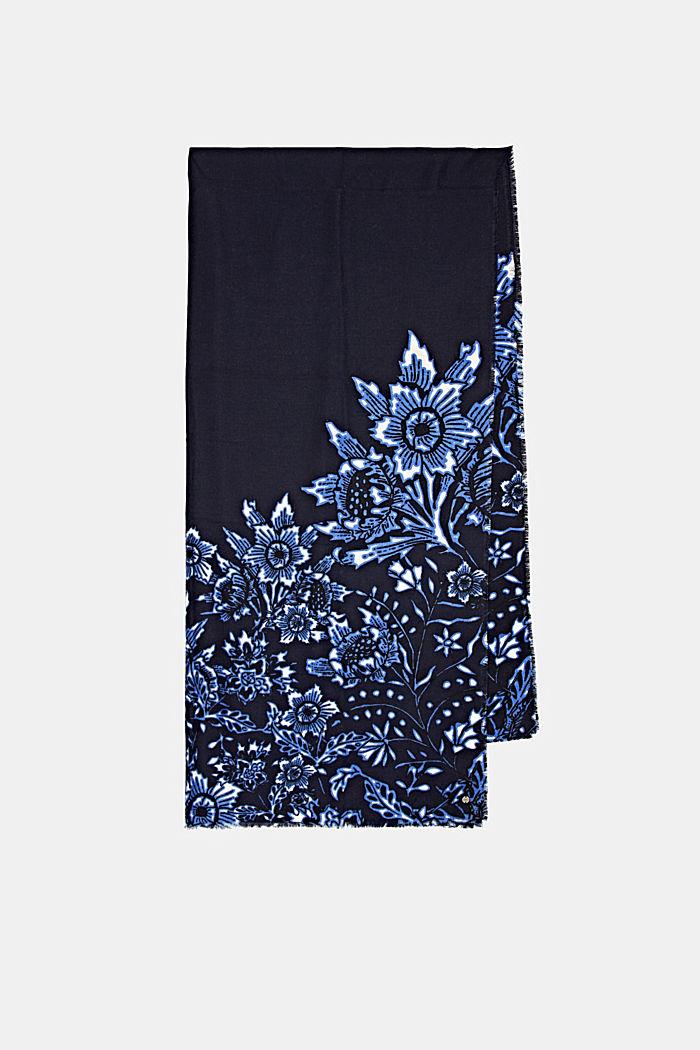 Gerecycled: geweven sjaal met bloemenmotief, NAVY, detail image number 4