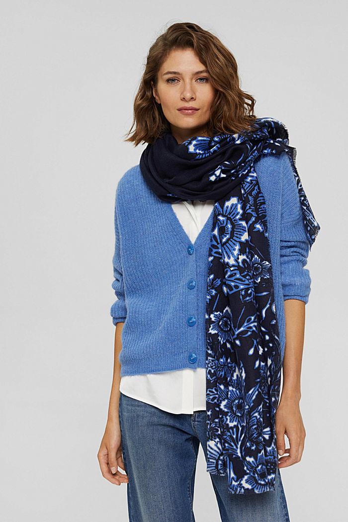 Gerecycled: geweven sjaal met bloemenmotief, NAVY, detail image number 1