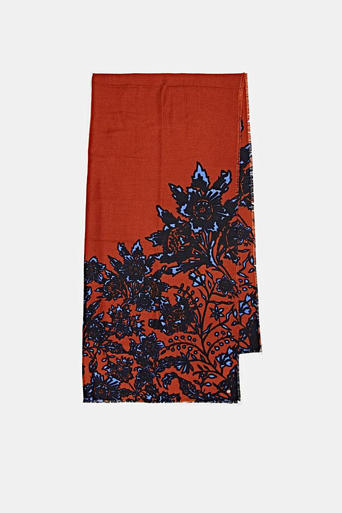 Reciclado: fular de tela con diseño floral, RUST ORANGE, detail image number 4