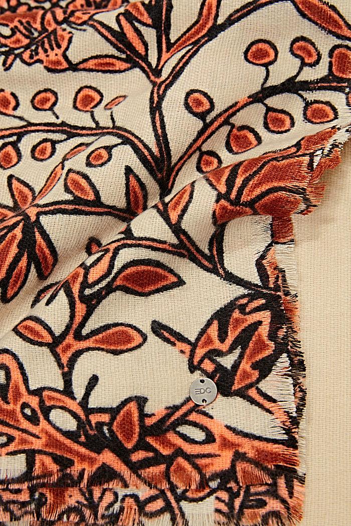 Recycelt: Webschal mit Blumenmuster, ORANGE, detail image number 2