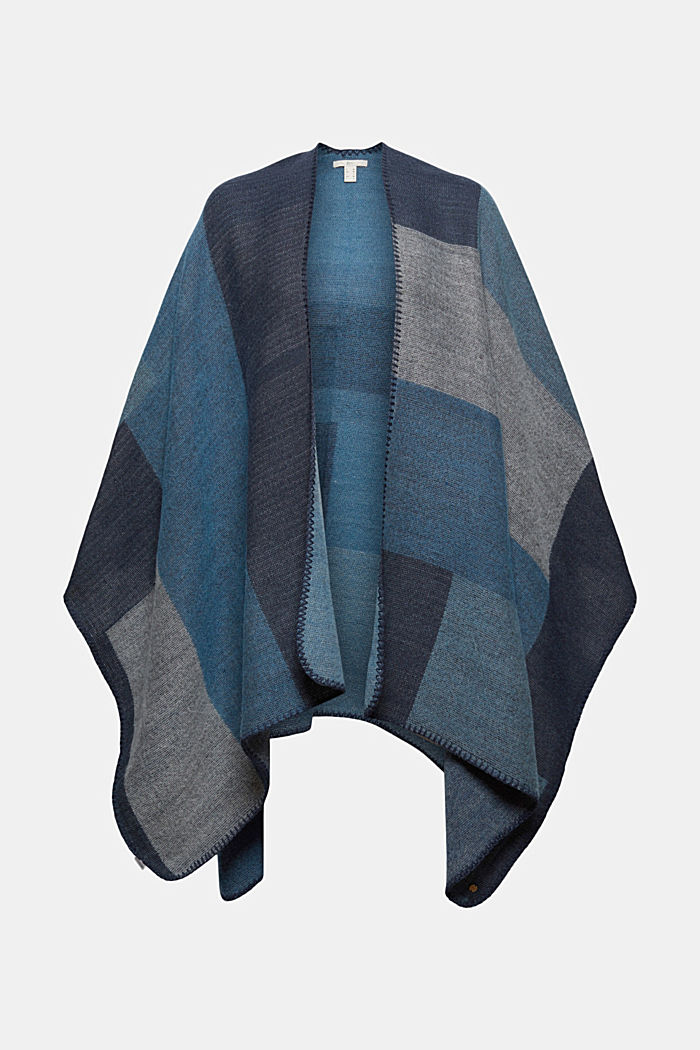 Recycelt: Poncho im Patchwork-Look, NAVY, detail image number 0