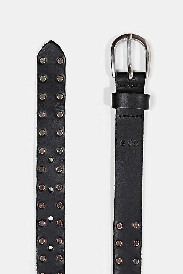 Aus Leder: schmaler Gürtel mit Nieten, BLACK, detail image number 1