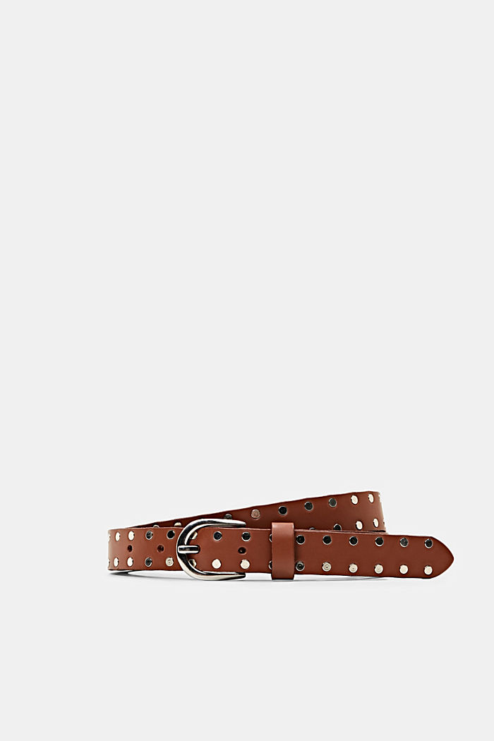 Narrow leather belt with studs, RUST BROWN, detail image number 0