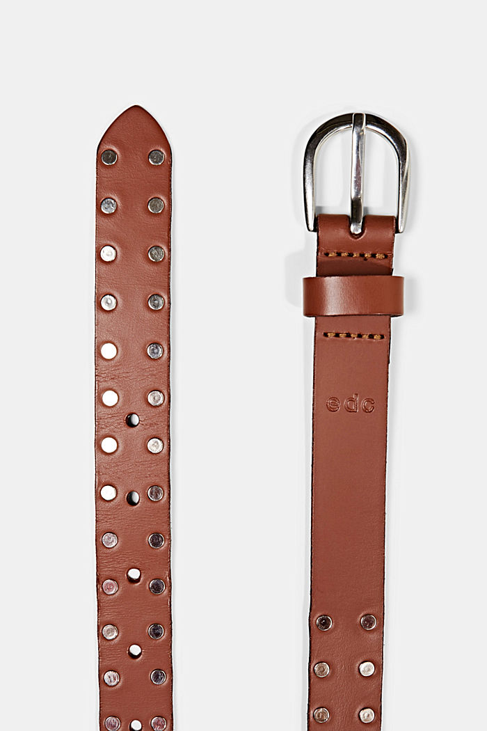 Narrow leather belt with studs, RUST BROWN, detail image number 1