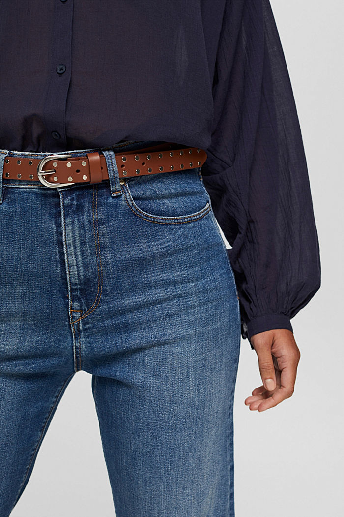 Narrow leather belt with studs, RUST BROWN, detail image number 2