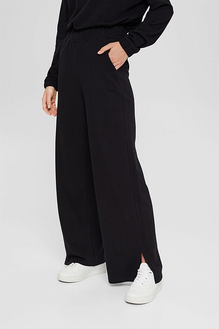 Sweatbroek met wijde pijpen, organic cotton, BLACK, detail image number 0