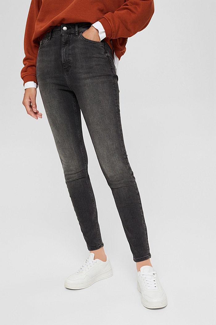 Jean à taille extra haute, coton biologique, GREY MEDIUM WASHED, detail image number 0