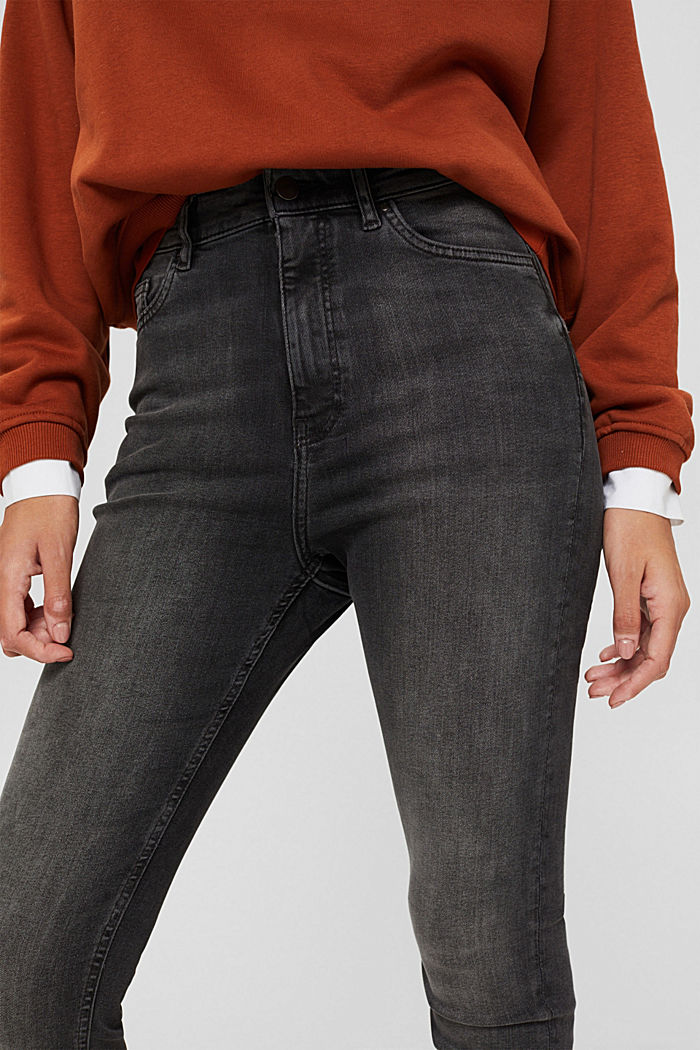 Jean à taille extra haute, coton biologique, GREY MEDIUM WASHED, detail image number 2