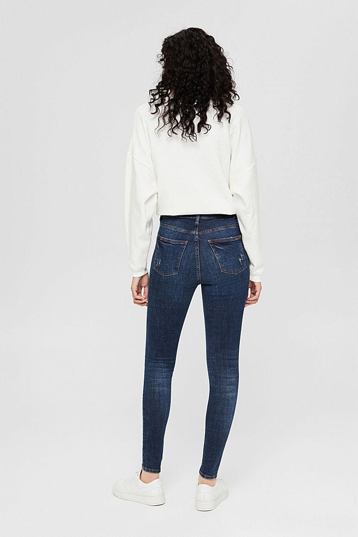 Knöchellange Jeans im Used-Look, Bio-Baumwolle, BLUE DARK WASHED, detail image number 3