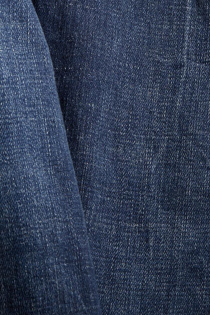 Knöchellange Jeans im Used-Look, Bio-Baumwolle, BLUE DARK WASHED, detail image number 4