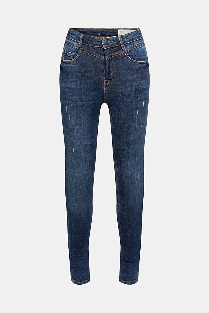 Jeans alla caviglia effetto usato, cotone biologico