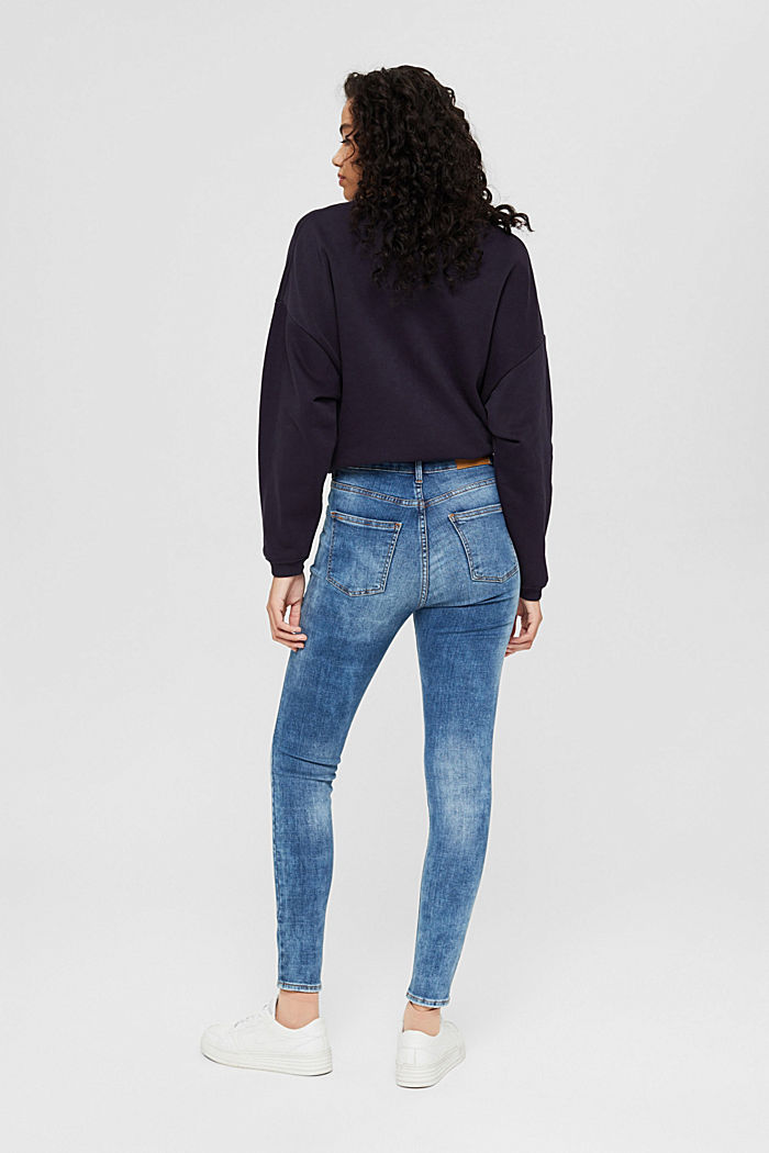 Ankle-length jeans in a vintage look, organic cotton, BLUE MEDIUM WASHED, detail image number 3