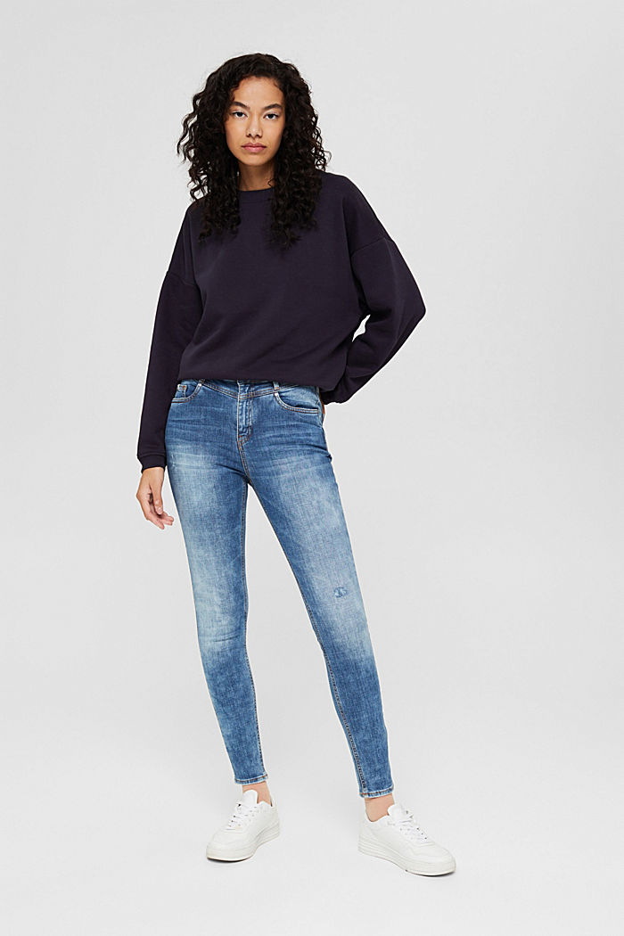 Ankle-length jeans in a vintage look, organic cotton, BLUE MEDIUM WASHED, detail image number 1