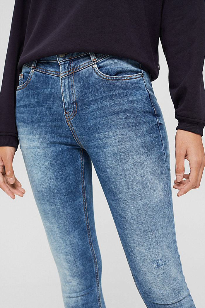 Ankle-length jeans in a vintage look, organic cotton, BLUE MEDIUM WASHED, detail image number 2