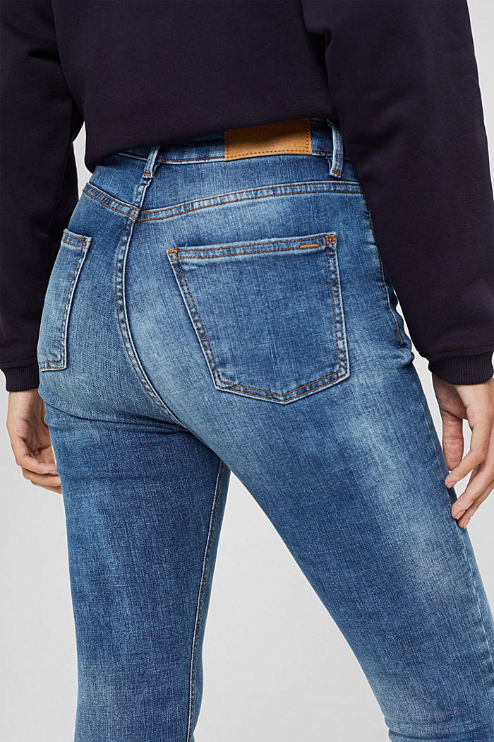 Ankle-length jeans in a vintage look, organic cotton, BLUE MEDIUM WASHED, detail image number 5