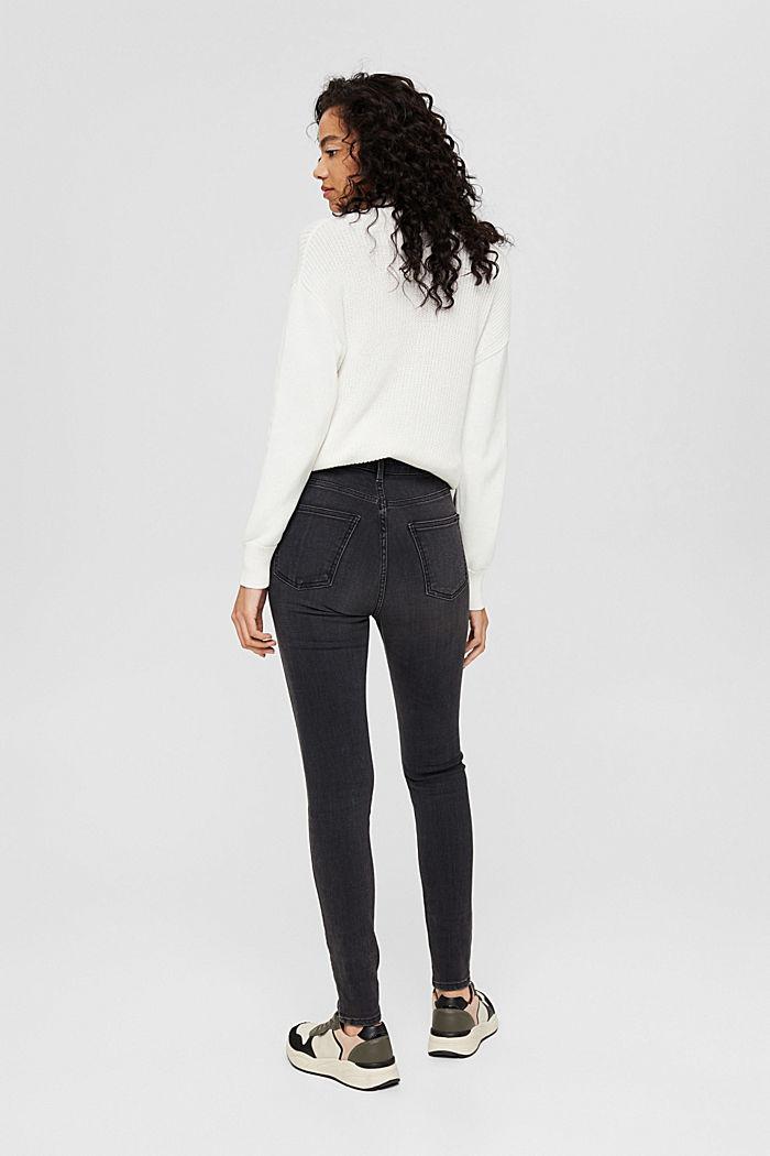 Stretch-Jeans mit hohem Bund, Bio-Baumwolle, BLACK DARK WASHED, detail image number 3