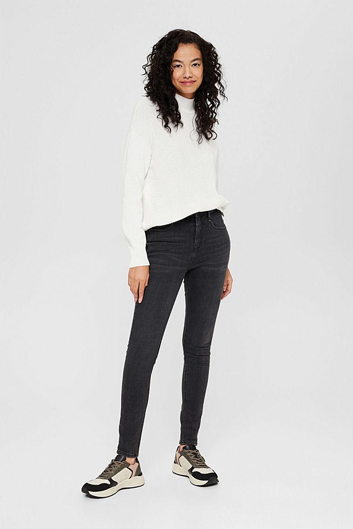 Stretch-Jeans mit hohem Bund, Bio-Baumwolle, BLACK DARK WASHED, detail image number 1