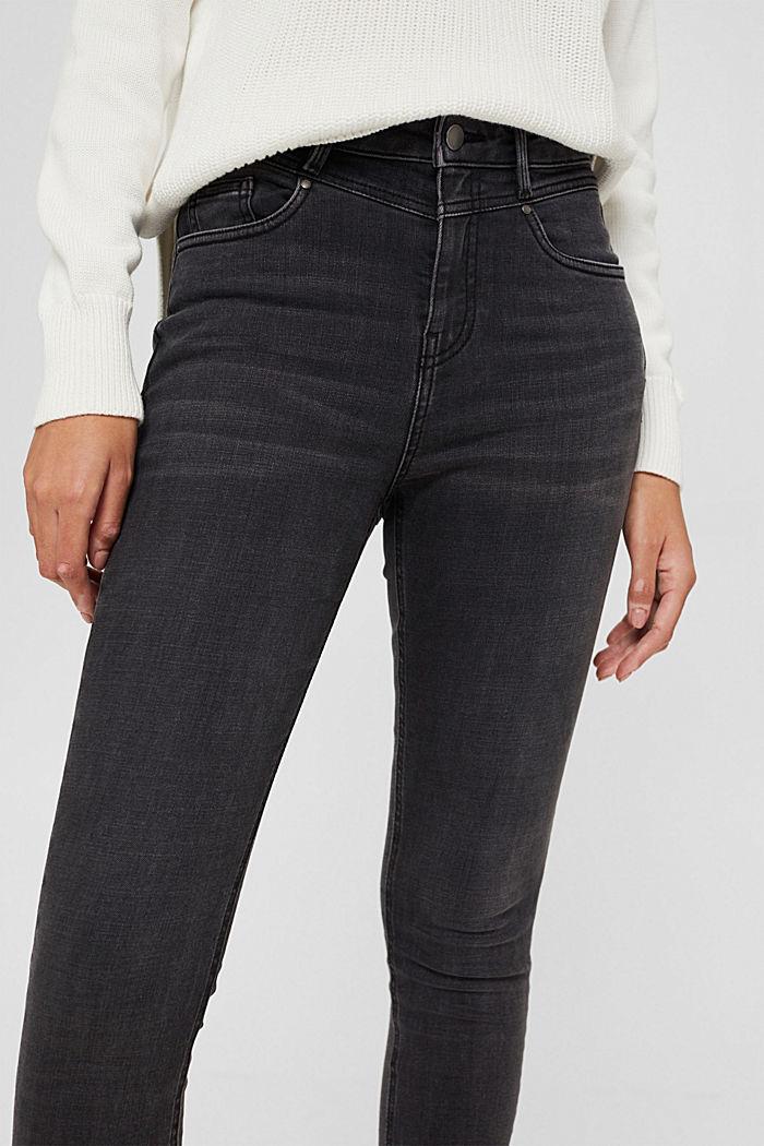 Stretch-Jeans mit hohem Bund, Bio-Baumwolle, BLACK DARK WASHED, detail image number 2