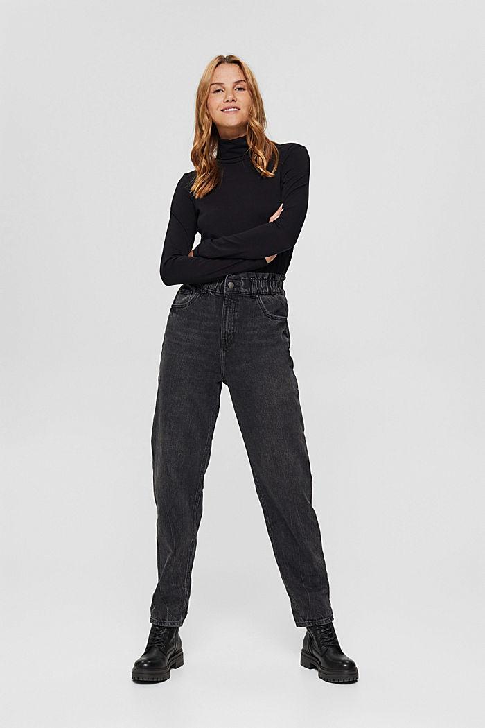 Pants denim Paperbag Fit High Rise, BLACK DARK WASHED, detail image number 0