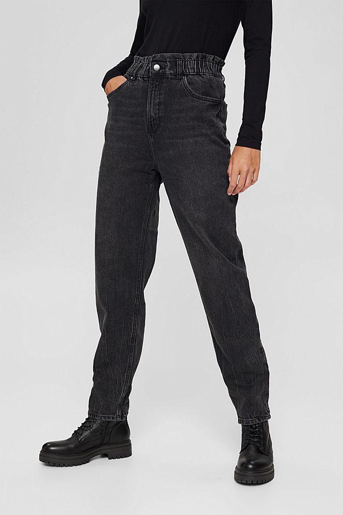 Pants denim Paperbag Fit High Rise, BLACK DARK WASHED, detail image number 6