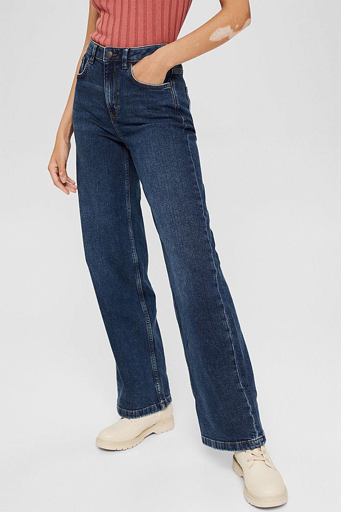 Jeans mit weitem Bein aus Bio-Baumwolle, BLUE DARK WASHED, detail image number 0