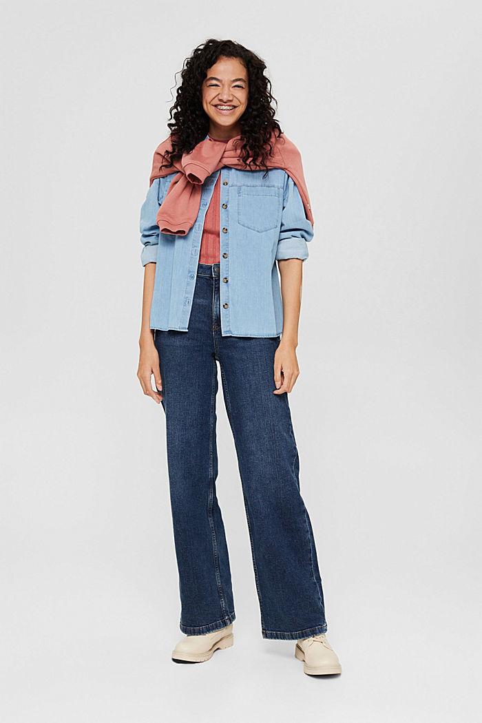 Jeans mit weitem Bein aus Bio-Baumwolle, BLUE DARK WASHED, detail image number 1